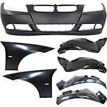 Fender Liner - Front, Driver and Passenger Side, Front and Rear Section, Sedan/Wagon, without M-Sport Package, with Front Bumper Cover (without Headlight Washers) and Right and Left Fenders
