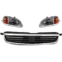 Replacement Headlight and Grille Assembly Kit - DOT/SAE Compliant