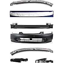 Replacement Bumper Cover, Bumper Reinforcement, Bumper Absorber and Bumper Bracket Kit - Without fog light holes