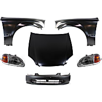 Replacement Bumper Cover, Headlight, Fender and Hood Kit - Without fog light holes