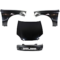 Replacement Bumper Cover, Fender and Hood Kit - Without fog light holes