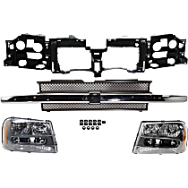 Header Panel - with Black Grille Assembly and Right and Left Headlights