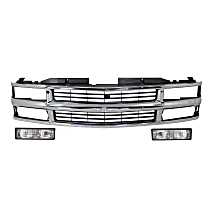 Grille Assembly - Chrome Shell with Painted Black Insert, with Right and Left Turn Signal Lights
