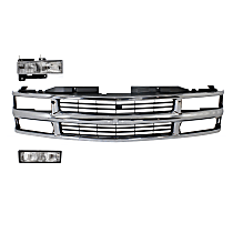 Grille Assembly - Chrome Shell with Painted Black Insert, with Right Headlight and Right Turn Signal Light