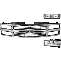 Grille Assembly - Chrome Shell with Painted Black Insert, with Left Headlight and Left Turn Signal Light