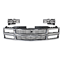 Grille Assembly - Chrome Shell with Painted Black Insert, with Right and Left Headlights