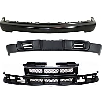 Bumper - Front, Powdercoated Black, without LS Appearance Package, with Grille Assembly (Black Center Bar) and Valance (without Fog Light Holes)
