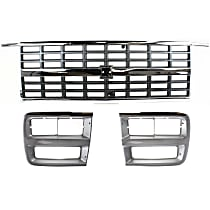 Grille Assembly - Silver Shell with Black Insert, with Single Headlights, with Dual Type Right and Left Headlight Doors