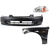 Bumper Cover, Headlight and Fender Kit - Without fog light holes
