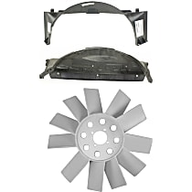 Fan Shroud and Fan Blade Kit - Fits Radiator Fan; Direct Fit, Plastic