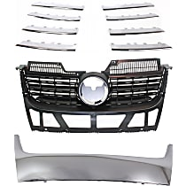 Grille Assembly - Matte Black Shell and Insert, with Lower Chrome Grille Trim Kit