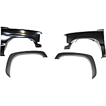 Replacement Fender Trim and Fender Kit - Front, Driver and Passenger Side, Smooth Black, Full, Direct Fit