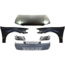 Hood - Primed, USA Built Vehicle, with Front Bumper Cover, Right and Left Fenders and Right and Left Headlights
