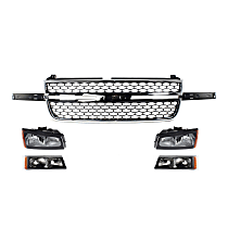 Turn Signal Light, Headlight and Grille Assembly Kit - Front, DOT/SAE Compliant, Direct Fit