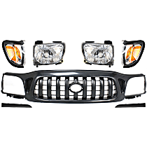 Grille Assembly - Paintable Shell and Insert, with Right and Left Corner Lights, Right and Left Headlights and Right and Left Headlight Fillers