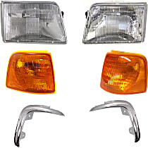 Grille Extension - Chrome, Driver and Passenger Side, with Right and Left Corner Lights and Right and Left Headlights