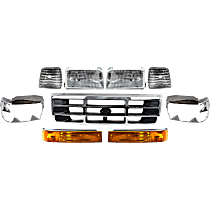 Replacement Headlight, Turn Signal Light, Corner Light, Grille Assembly and Headlight Door Kit - DOT/SAE Compliant