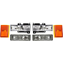 Replacement Headlight, Turn Signal Light and Side Marker Kit - Driver and Passenger Side, DOT/SAE Compliant