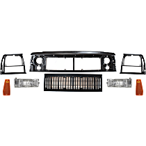Grille Assembly - Painted Black Shell and Insert, with Header Panel, Right and Left Headlight Doors, Right and Left Side Markers and Right and Left Turn Signal Lights