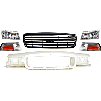 Corner Light, Grille Assembly, Headlight and Header Panel Kit - OE Replacement, DOT/SAE Compliant