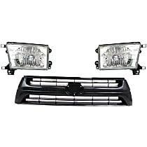 Headlights - Driver and Passenger Side, Kit, With Bulb(s), With Grille