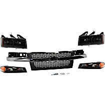 Replacement Corner Light, Headlight and Grille Assembly Kit - Driver and Passenger Side, OE Replacement, DOT/SAE Compliant