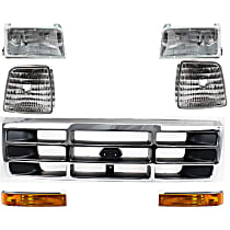 Replacement Turn Signal Light, Corner Light, Headlight and Grille Assembly Kit - DOT/SAE Compliant, Direct Fit