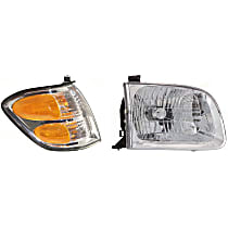 Turn Signal Light and Headlight Kit - Passenger Side, Clear & Amber Lens, DOT/SAE Compliant, Direct Fit
