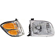 Replacement Turn Signal Light and Headlight Kit - Passenger Side, Clear & Amber Lens, DOT/SAE Compliant, Direct Fit