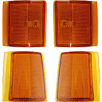 Replacement Side Marker and Reflector Kit - Front, Passenger Side, Lower, Direct Fit, DOT/SAE Compliant