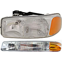Headlight - Driver Side, Kit, 1999-2007 Body Style, For SL And SLE, With Bulb(s), With Left Parking Light