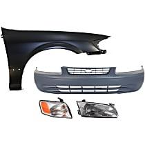 Headlight, Corner Light, Fender, and Bumper Cover Kit - Front, DOT/SAE Compliant