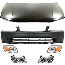 Hood - Primed, USA Built Vehicle, with Front Bumper Cover, Right and Left Corner Lights and Right and Left Headlights
