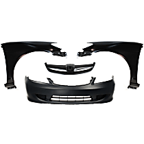 Bumper Cover - Front, Kit, Primed, For Coupe, Includes Fenders and Grille