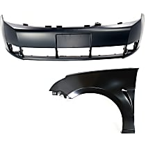 Bumper Cover - Front, Kit, Primed, For Sedan, Includes Front Left Fender