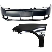 Bumper Cover - Front, Kit, Primed, For Sedan, Includes Front Left Fender, CAPA Certified