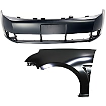 Bumper Cover - Front, Kit, Primed, For Sedan, Includes Front Left Fender, CAPA Certified