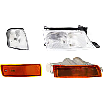Headlight - Passenger Side, Kit, Mounts on Bumper, With Bulb(s), With Right Turn Signal, Corner Light and Side Marker