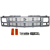 Grille Assembly - Painted Silver Gray Shell and Insert, with Right and Left Reflectors and Right and Left Turn Signal Lights