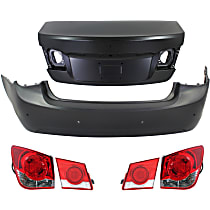 Bumper Cover - Rear, Kit, Primed, For Models Without RS Package, Rear Spoiler and Blind Zone Alert (With Parking Assist), With Trunk Lid, Inner and Outer Tail Lights