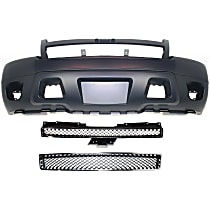 Bumper Cover - Front, Kit, Primed, For Models Without Off Road Package (Round Fog Lights), Includes Black Grille and Lower Bumper Grille, With Tow Hook Hole
