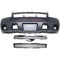 Grille Assembly - Chrome Shell with Painted Black Insert, with Front Bumper Cover and Front Lower Bumper Grille