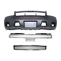 Bumper Cover - Front, Kit, Primed, For Models Without Off Road Package (Round Fog Lights), Includes Gray Grille and Lower Bumper Grille, With Tow Hook Hole