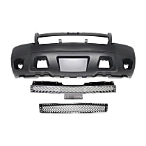 Bumper Cover - Front, Kit, Primed, For Models Without Off Road Package (Round Fog Lights), Includes Chrome Grille and Lower Bumper Grille, With Tow Hook Hole