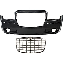 Grille Assembly - Chrome Shell with Painted Silver Insert, Engine Code MF5, with Front Bumper Cover 3.5 Liter Engine