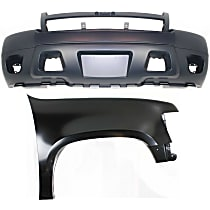 Bumper Cover - Front, Kit, Primed, For Models Without Off Road Package (Round Fog Lights), Includes Right Fender, With Tow Hook Hole