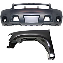 Bumper Cover - Front, Kit, Primed, For Models Without Off Road Package (Round Fog Lights), Includes Front Left Fender, With Tow Hook Hole