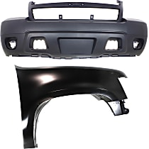 Bumper Cover - Front, Kit, Primed, For Models Without Off Road Package (Round Fog Lights), Includes Right Fender, With Tow Hook Hole, CAPA Certified