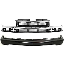 Bumper - Front, Powdercoated Black, with Grille Assembly (Chrome Center Bar), without Molding Holes