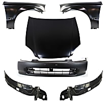 Fender - Front, Driver and Passenger Side, with Front Bumper Cover, Right and Left Fender Liners and Hood